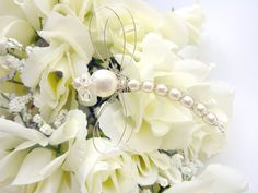 Dragonfly Pearl Bouquet Decoration  White by GemstoneDragonflies, $28.00