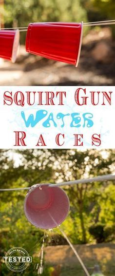 Squirt Gun Water Race Game! What a fun game to play with friends and family this up coming summer. Perfect for your kiddos next birthday party. Easy to make, inexpensive and so fun!