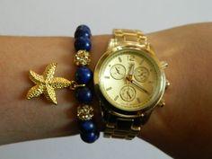 Starfish navy blue nautical stretch bracelet by AcuteFox on Etsy