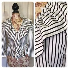 Boston Proper striped top Such fun!  Classic black and white striped top from Boston Proper. Fun ruffle and peplum. Stretch for fit and comfort. So perfect with a pencil skirt or skinny jeans! Boston Proper Tops