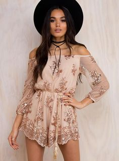 Cheap combinaison femme, Buy Quality shorte combinaison directly from China gold sequin playsuit Suppliers: CWLSP Hot Sale Slash Neck Gold Sequined Playsuit Jumpsuit Women Long Sleeve Sexy Sequins Lace Bodysuit Short combinaison femme Sequin Playsuit, Playsuit Romper, Floral Playsuit, Mode Rose, Cute Homecoming Dresses, Prom Dresses, Cheap Dresses, Nice Dresses, Off Shoulder Romper