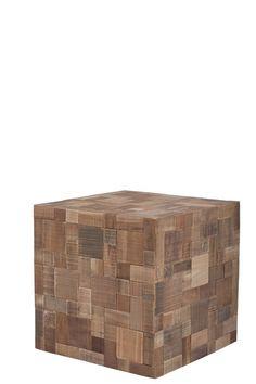 Mosaic Sidebord - Sidebord i genbrugstræ med små fliser i træ. Praktisk lille bord til stuen - kan også bruges som natbord.