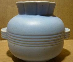 crown devon england celest sky blue art deco vase glaze stone ware europe