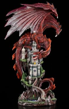 - Height: 58 cm - Width: 30 cm - Depth: 35 cm - Material: Cold Cast Resin - hand painted - for AA Batteries (not included) - LED behind Castle Windows Magical Creatures, Fantasy Creatures, Mythical Dragons, Dragon's Lair, Gothic Aesthetic, Dragon Figurines, Clay Dragon, Dragon Artwork, Celtic Dragon