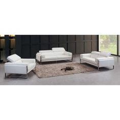 Divani Casa Livorno Modern White Leather Sofa Set