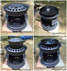 Outdoor-only wood-fired cookstove from two steel rims welded together.
