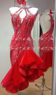 e50f3bff3 Competition Ballroom Latin Cha Cha Ramba US 12 Dance Dress Beads fringes