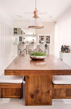 56 Trendy Home Bar Seating Banquettes Wooden Dining Table Designs, Wooden Dining Tables, Kitchen Room Design, Dining Room Design, Dinning Room Tables, Dining Area, Dining Room Inspiration, Trendy Home, Bars For Home
