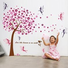 Charming Walplus Wall Stickers Pink Tree Mural Decal Paper Art Decoration Tree Fairy Children  Nursery Bedroom Baby Design Inspirations