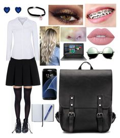 """""""School Uniform"""" by chanicebrogan ❤ liked on Polyvore featuring Leg Avenue, Alexander Wang, George, Lime Crime, Samsung, HP, Revo, Smythson, backpacks and contestentry"""