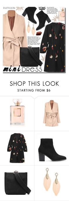 """Yoins Mini Dresses"" by beebeely-look ❤ liked on Polyvore featuring Chanel, Madewell, By Terry, Boots, minidress, streetwear, fallfashion and yoinscollection"