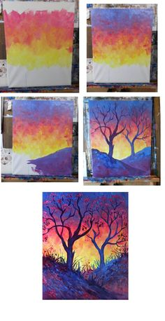 1001 ideas and techniques to create an easy watercolor painting 1001 id es et techniques pour r aliser une peinture l aquarelle facile natural watercolor landscape depicting a tree and a beautiful sky at sunset Easy Canvas Painting, Painting & Drawing, Canvas Art, Canvas Paintings, Diy Painting, Painting Walls, Diy Canvas, Painting Steps, Heart Painting