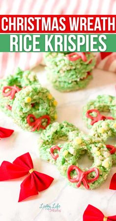 Simple and elegant Christmas Wreath Rice Krispies treats that are perfect for the holidays as a snack or dessert that the whole family will enjoy. Christmas Sweets, Elegant Christmas, Christmas Baking, Christmas Cookies, Christmas Wreaths, Easy Holiday Desserts, Holiday Treats, Holiday Recipes, Rice Krispie Treats