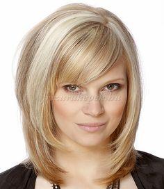 női frizurák félhosszú hajból - lépcsőzeteses vágott félhosszú frizura
