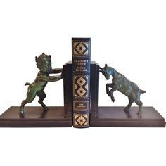 Vintage Pair of Carlier Bookends..Baby Pan & Goat French ca.1930s