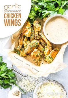 Keto Garlic Parmesan Chicken Wings (low-carb, primal)