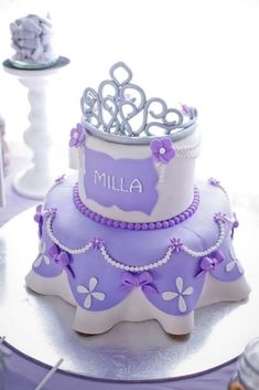 Gorgeous cake at a Sofia the First birthday party! See more party planning ideas at CatchMyParty.com! #birthdaycakes