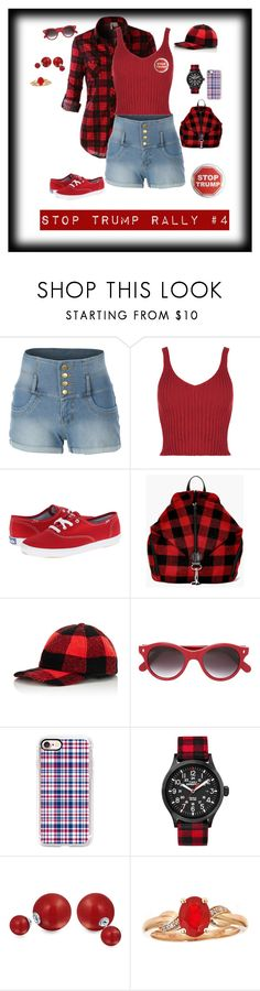 """""""Stop Trump Rally #4"""" by michelechambers ❤ liked on Polyvore featuring LE3NO, Keds, Boohoo, Crown Cap, Cutler and Gross, Casetify, Timex, Bling Jewelry and Trump Home"""
