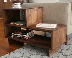 Mid Century Modern Side Table, Walnut