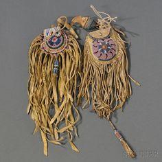 Two Beaded Hide Peyote Pouches. Команчи? Конец 19 века.
