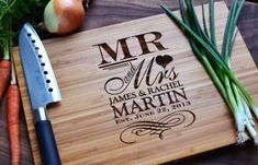 "Personalized Cutting Board ""mr. And Mrs."" Engraved Bamboo Wood For Wedding…"