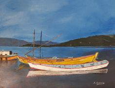 """Oil painting titled """"Boats at Dusk"""", done on an 11"""" x 14"""" cardboard canvas. SOLD"""