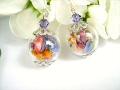 Real Flower Glass Bead Earrings Real Dried by SeaMeadowDesigns