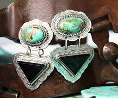 Navajo Sterling Turquoise And Black Onyx Clip On Earrings! - Earrings - Jewelry - ACCESSORIES