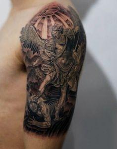 4d2d04006 Men's Archangel Micheal Tattoo On Arm And Shoulder #Tattoosformen Demon  Tattoo, Arm Tattoo,