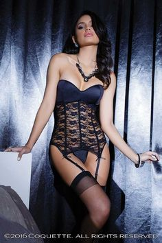 #FashionVault #coquette #Women #Lingeries - Check this : Black Stretch Lace Bustier for $62 USD