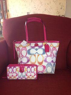 52e5791758 Coach Signature Sis Scribble Dream Tote Purse 21894 Wallet 48787 Set NWT  Discount Coach Bags,