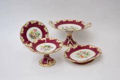 Set de sobremesa em porcelana Inglesa do sec.19th, 12px, 1,420 USD / 1,280 EUROS / 4,640 REAIS / 9,470 CHINESE YUAN