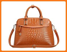 Tom Clovers New Women's Office Lady Genuine Leather Luxury Crocodile Simple Style Fashion Tote Top Handle Crossbody Shoulder Bag Buckets Hot Sell Satchel Purse Women's Handbag Yellow (*Partner Link)