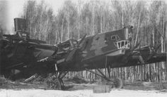 Soviet TB-3 bomber 4 M-17F fighters bombed the airfield and damaged this TB-3 it was later captured by the Germans in June 1941.