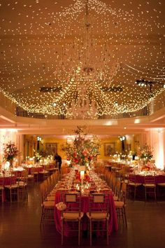 Make a ballroom feel special with white lights.