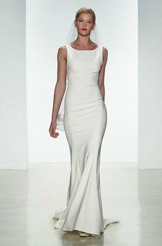 A minimalist, figure-flattering wedding gown by Amsale