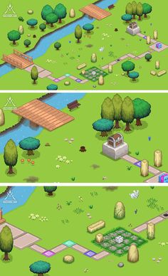 - Trees/Bushes - Big and small stones - Grass, flowers,mushrooms - Butterfly, birds, rabbit - Floor tiles - Dice, gift, treasure chest - Bridges - River - Bench  Animated sprites: dice, treasure chest, rabbit, snail, worm, butterfly, bee.