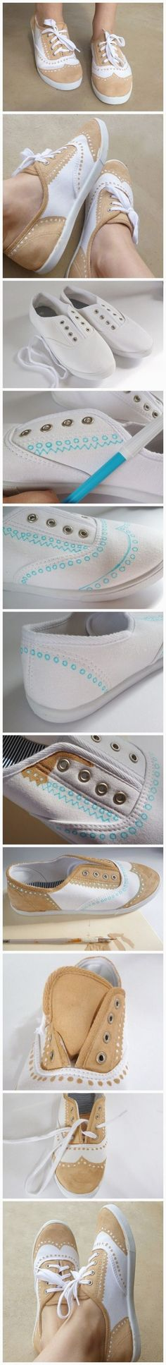 La sneaker coloration Cute Crafts, Crafts To Do, Diy Crafts, Diy Clothes Refashion, Diy Clothing, Shoe Refashion, Boutique Clothing, Ideas Paso A Paso, Do It Yourself Inspiration