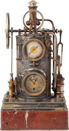 Steampunk inspiration - ca. 1885 industrial series novelty mechanical clock barometer in the form of a steam engine (A. Mucoli & Figlio of Palermo) Steampunk Interior, Diy Steampunk, Pirate Steampunk, Steampunk Accessoires, Steampunk Clock, Steampunk Gadgets, Steampunk House, Steampunk Design, Steampunk Costume
