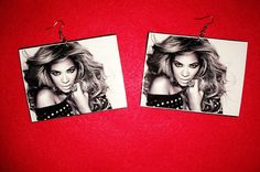 Beyonce' Black & White Earrings by on Etsy Black And White Earrings, Custom Earrings, Beyonce, Sassy, Black White, Glamour, Trending Outfits, Tees, Unique Jewelry