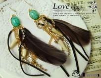 Vintage Gypsy Turquoise Peacock Feather Dangle Earrings Ships FREE