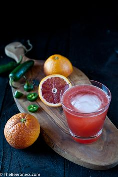 Bloody Helly Beer Cocktail, Blood Oranges, Beer, Jalapenos, Whiskey