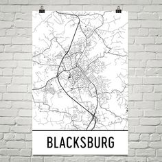 Blacksburg Map Art Print, Blacksburg VA Art Poster, Blacksburg Wall Art, Map of Blacksburg, Print, Gift, Birthday, Decor, Modern, Art
