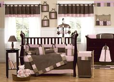 pink and brown nursery bedding | Soho Pink and Brown 9pc Baby Crib Bedding Set and Decor by Sweet JoJo ...