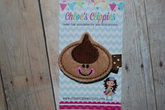 Chocolate Cookie Hair Clip - Felt Chocolate Kiss Cookie Hair Clip - Christmas Cookie - Holiday Chocolate Chip Cookie Bow - Food Hair Bow by ChloesClippies on Etsy
