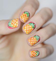 The Nail Polish Challenge - Pineapple Nails Pineapple Nails, Abstract Nail Art, Cute Nail Designs, Beautiful Nail Art, Beauty Make Up, Nail Arts, Nails Inspiration, How To Do Nails, Summer Nails