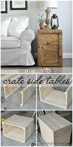 These DIY Crate Side Tables are perfect for farmhouse lovers, and easy to make! Find the full tutorial here: http://www.littleglassjar.com/2017/04/25/diy-crate-side-tables/