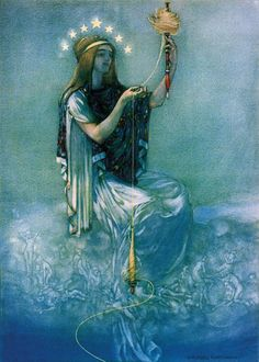 'Willingly give thyself up to Clotho, allowing her to spin thy thread into whatever she pleases': The Thoughts of Marcus Aurelius Antoninus, 1909 ~ Sir William Russell Flint (1880-1969)