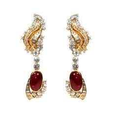 Striking Cabochon Ruby, Diamond &  Yellow Gold Earrings