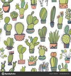 Descargar - Patrón transparente con dibujos de cactus — Ilustración de stock